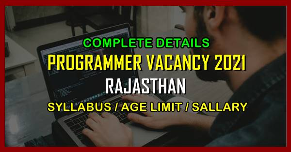 Rajasthan Programmer Vacancy syllabus full notification